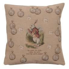Late Rabbit Alice In Wonderland French Tapestry Cushion
