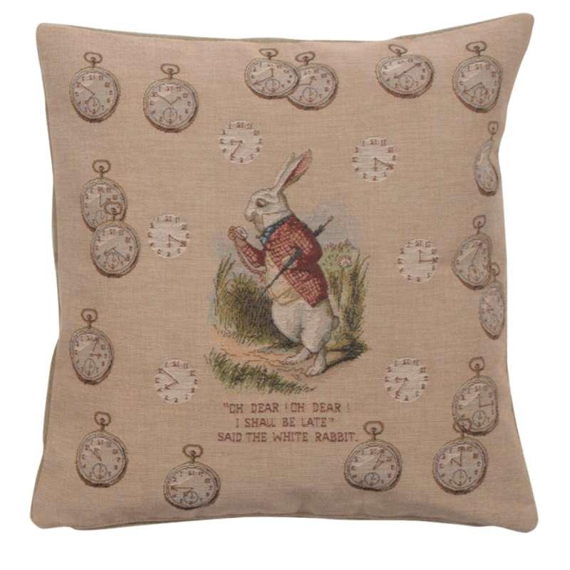 Late Rabbit Alice In Wonderland Decorative Tapestry Pillow