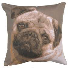 Pugs Face Grey I Decorative Tapestry Pillow
