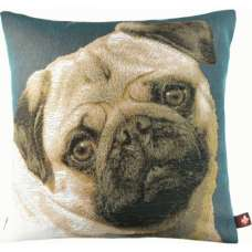 Pugs Face Blue II French Tapestry Cushion
