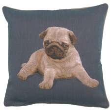 Puppy Pug Blue French Tapestry Cushion