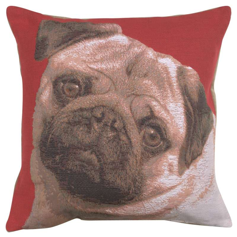 Pugs Face Red I French Tapestry Cushion