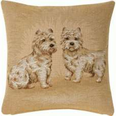 Dogs Light French Tapestry Cushion