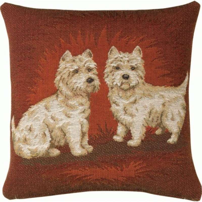 Dogs Dark  French Tapestry Cushion
