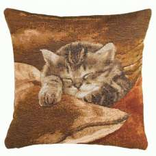 Sleeping Cat Brown French Tapestry Cushion