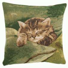 Sleeping Cat Green French Tapestry Cushion