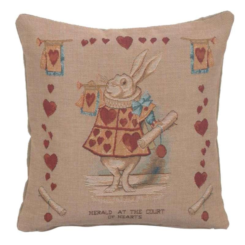Heart Rabbit Alice In Wonderland I Decorative Tapestry Pillow