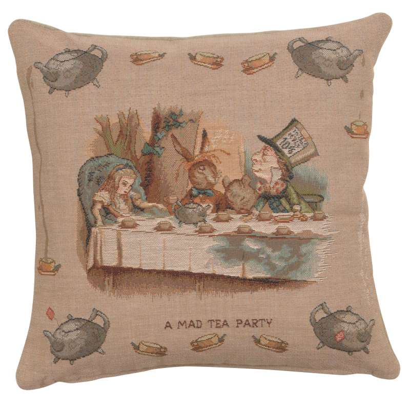 The Tea Party Alice In Wonderland I Decorative Tapestry Pillow