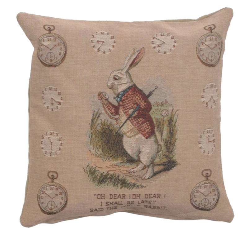 The Late Rabbit Alice In Wonderland I French Tapestry Cushion