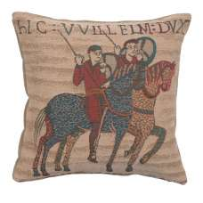 Bayeux Horseriders Decorative Tapestry Pillow
