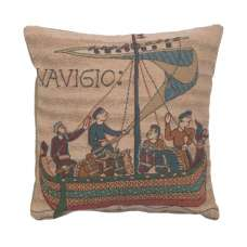 Bayeux The Boat Decorative Tapestry Pillow
