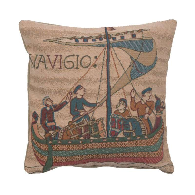 Bayeux The Boat French Tapestry Cushion