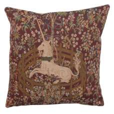 Licorne Captive In Red French Tapestry Cushion