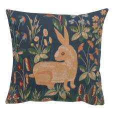 Rabbit in Blue II Decorative Tapestry Pillow
