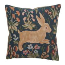 Running Rabbit in Blue  French Tapestry Cushion