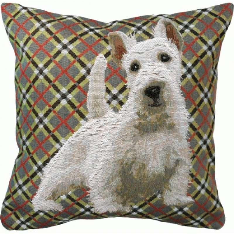 White Scottish Dog French Tapestry Cushion
