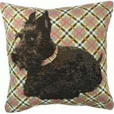 Black Scottish Dog French Tapestry Cushion