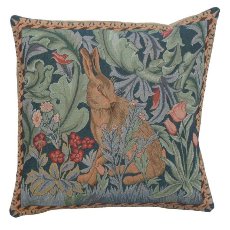 Rabbit as William Morris Left Large French Tapestry Cushion