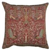 Tree In Red 1 French Tapestry Cushion