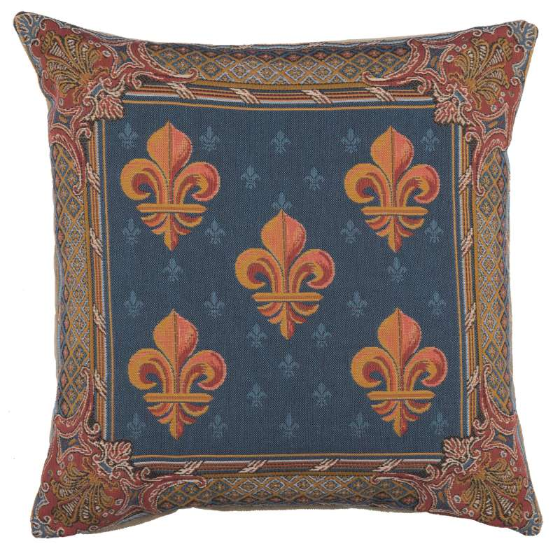Lys flower In Blue  French Tapestry Cushion