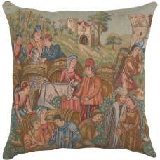 Wine Making 2 French Tapestry Cushion