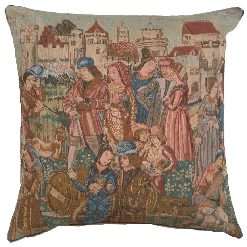 Wine Making 3 French Tapestry Cushion