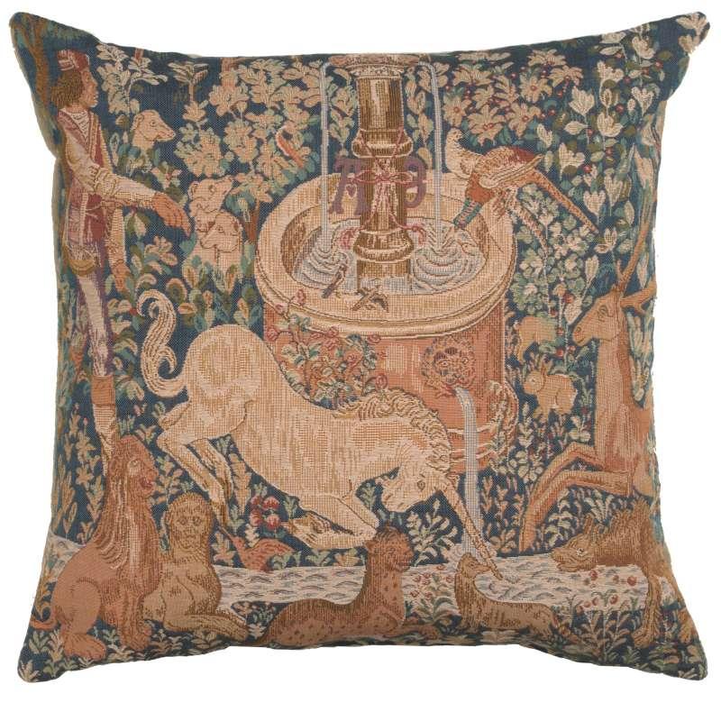 La Licorne a la Fontaine French Tapestry Cushion