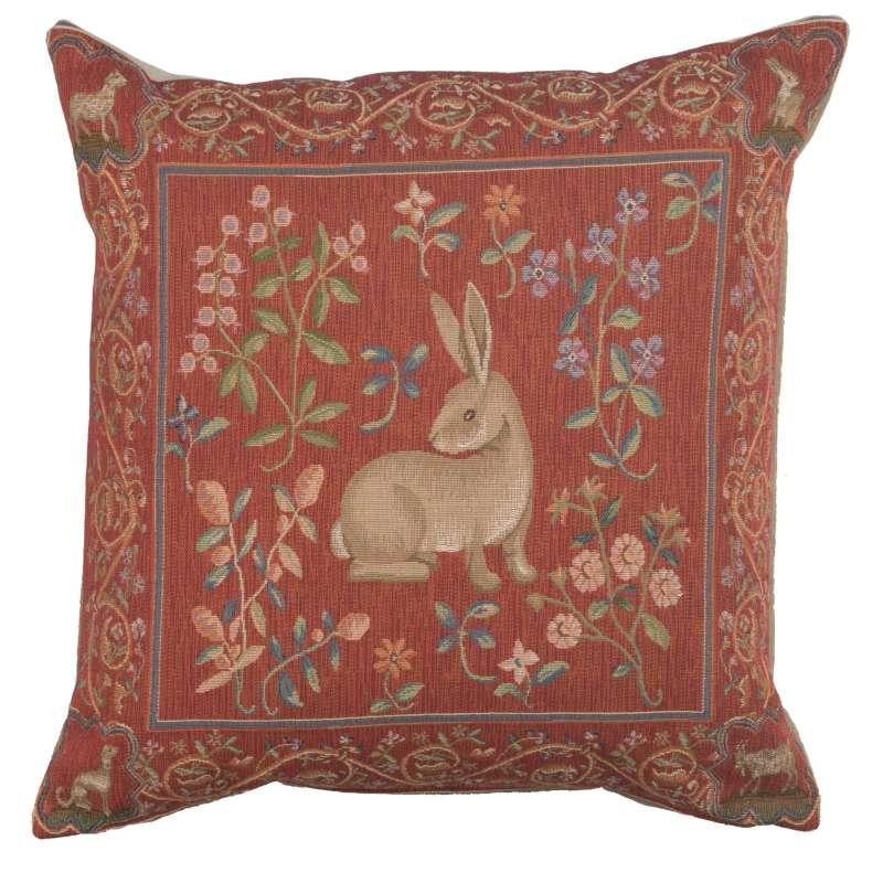 Medieval Rabbit I Decorative Tapestry Pillow