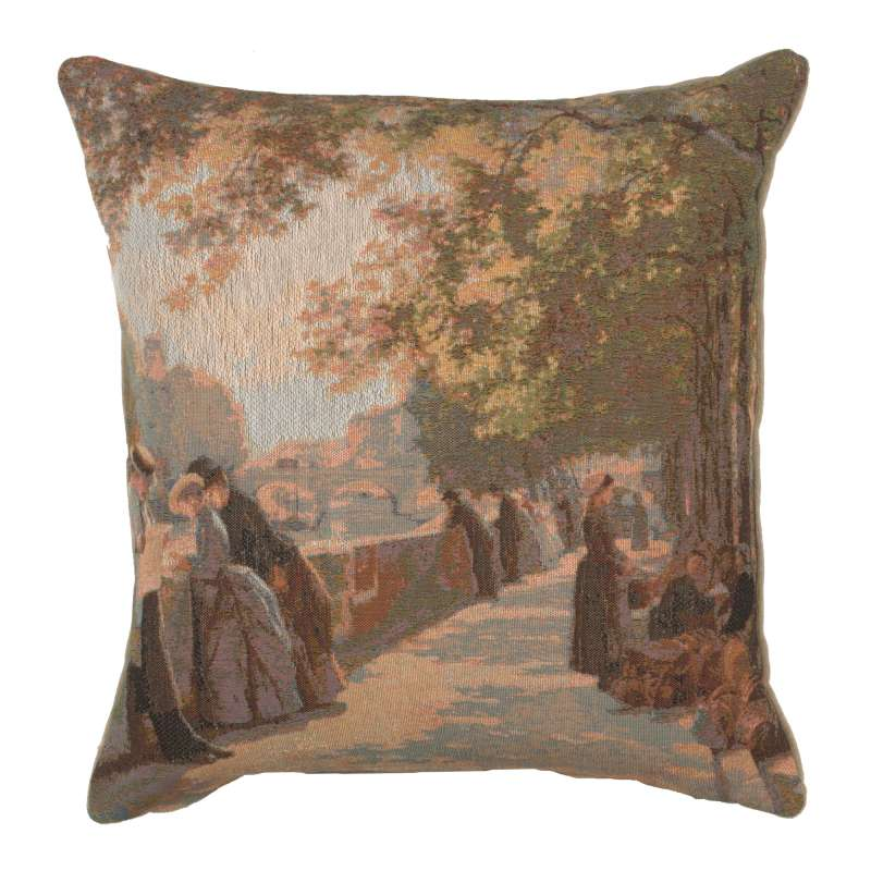 Bank of the River Seine II French Tapestry Cushion