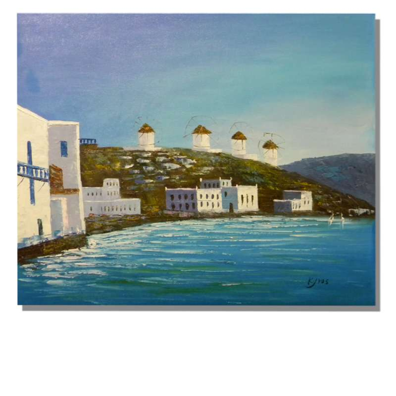Windmills By the Sea Canvas Oil Painting