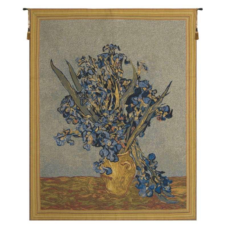 Vase Iris by Van Gogh European Tapestry Wall Hanging