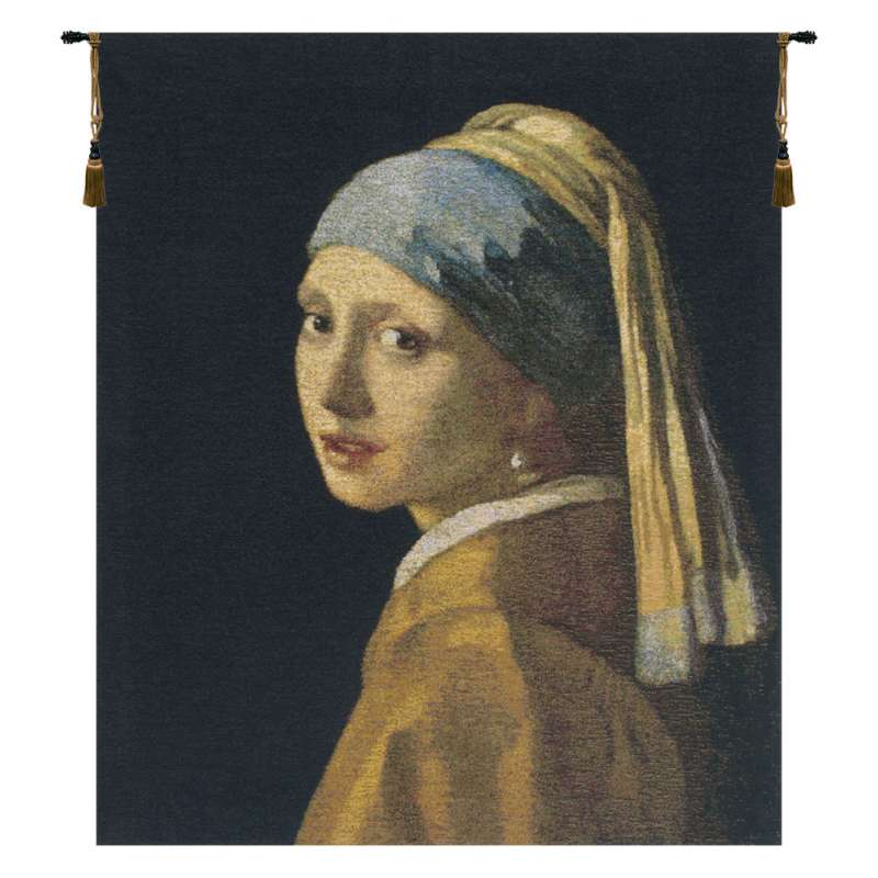 Vermeer Girl With the Pearl Earring Belgian Tapestry Wall Hanging