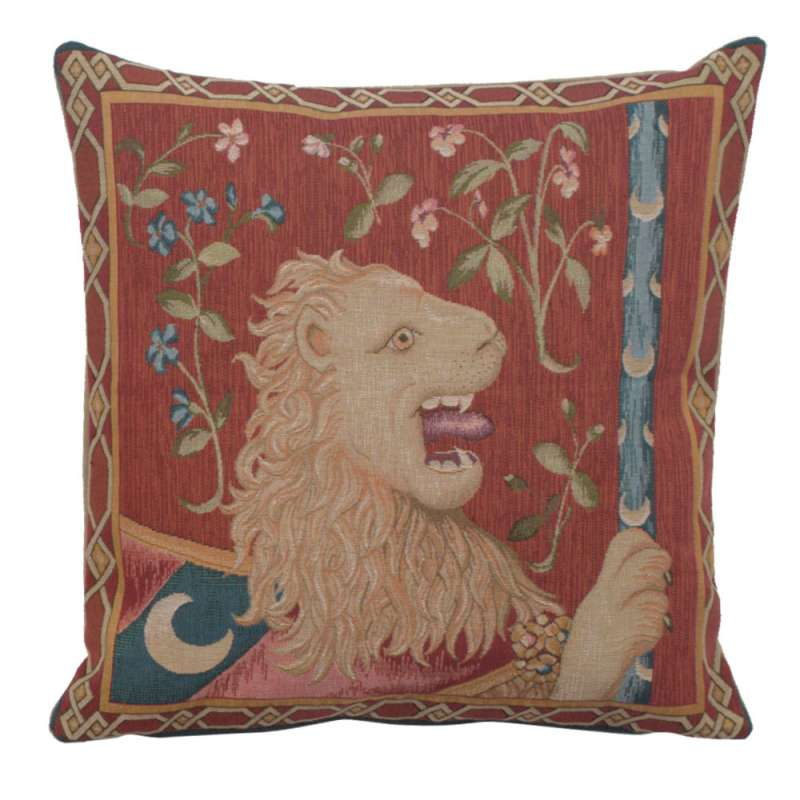 Le Lion Medieval  French Tapestry Cushion