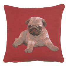 Puppy Pug Red French Tapestry Cushion