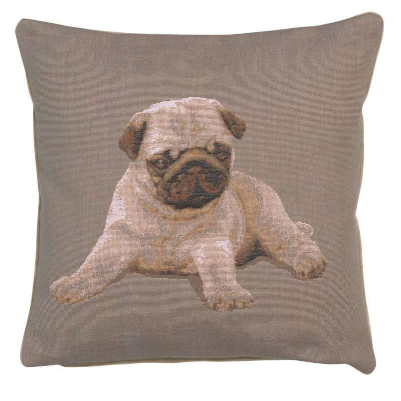 Puppy Pug Grey French Tapestry Cushion