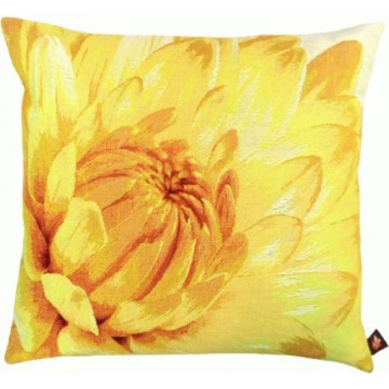 Close up on Light Yellow Dahlias French Tapestry Cushion