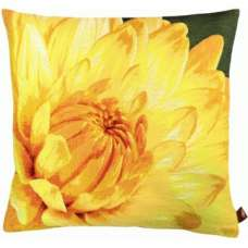 Close up on Yellow Dahlias Dark Background French Tapestry Cushion