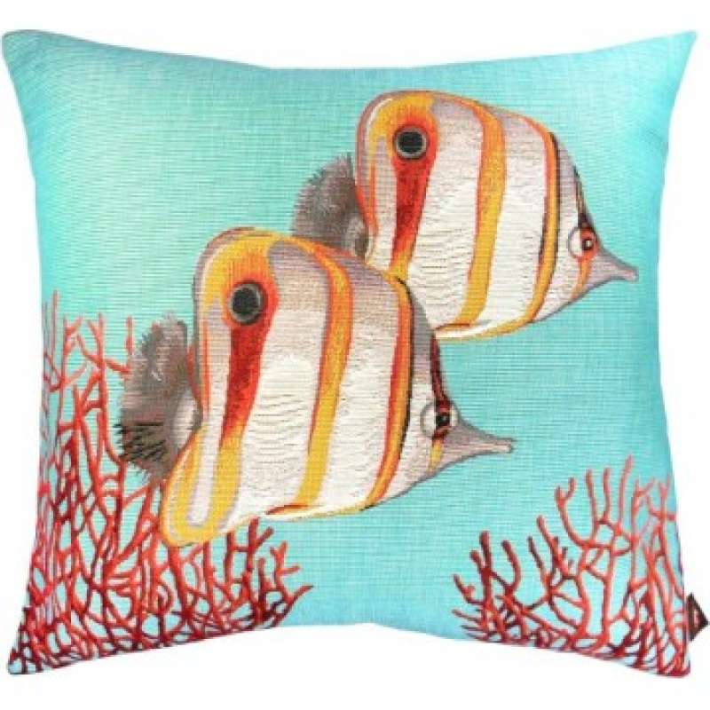 Butterflyfish and Coral Blue French Tapestry Cushion