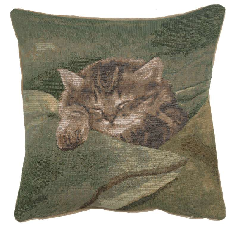 Sleeping Cat Blue French Tapestry Cushion