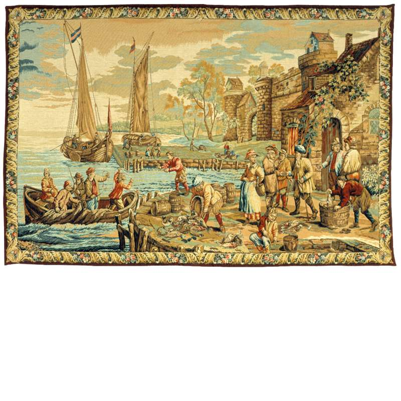 LArrivee Au Port French Tapestry Wall Hanging