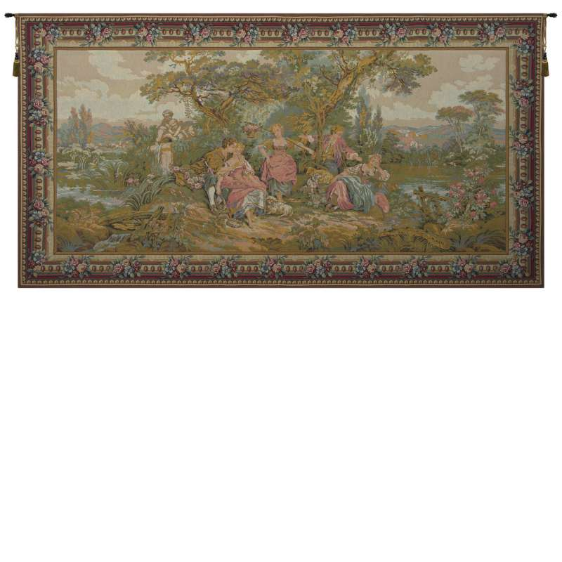 Les Amours Pastorales with Border French Tapestry Wall Hanging