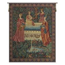 Rencontre A La Fontaine French Tapestry Wall Hanging