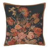 Flora Cotta Black I Belgian Cushion Cover