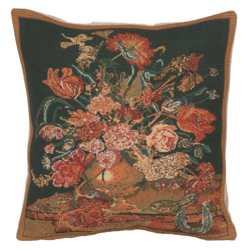 Flora Cotta Black II Belgian Cushion Cover