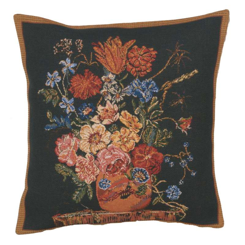 Terra Cotta Black IIII Belgian Cushion Cover