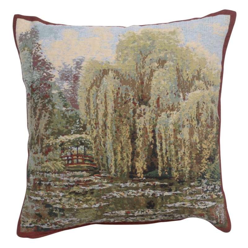 Bridge Monet's Garden  Belgian Tapestry Cushion