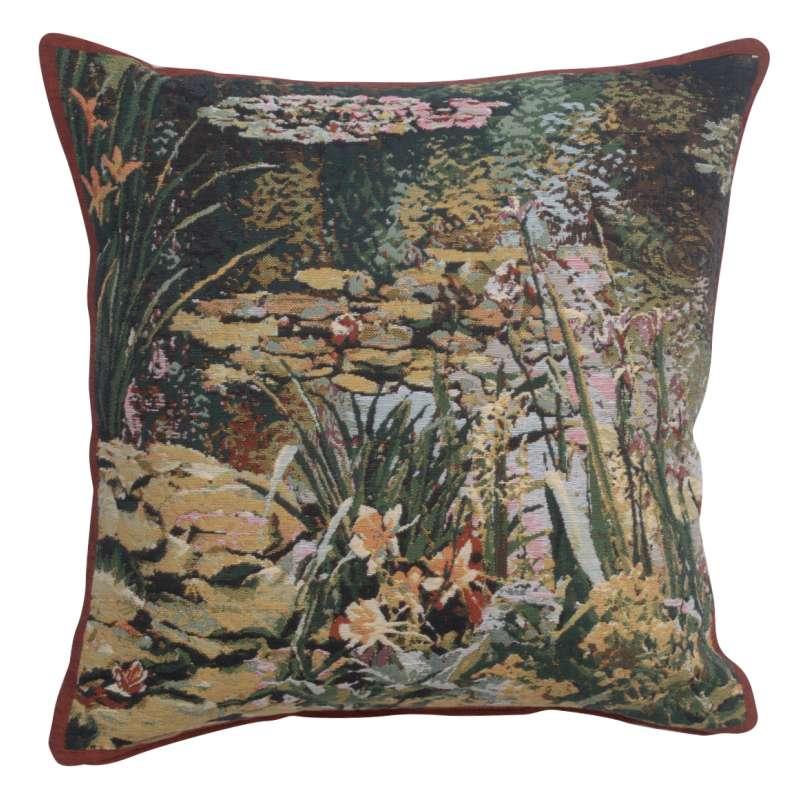Yellow Flowers Monet's Garden  Belgian Tapestry Cushion