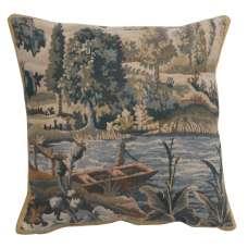 Paysage Flamand Bateau Belgian Tapestry Cushion