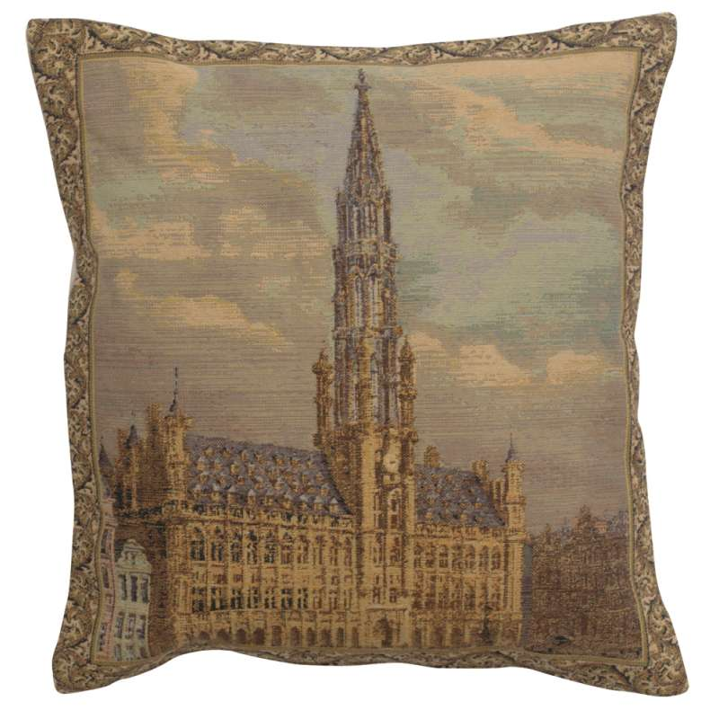 Townhall Brussels  Decorative Tapestry Pillow