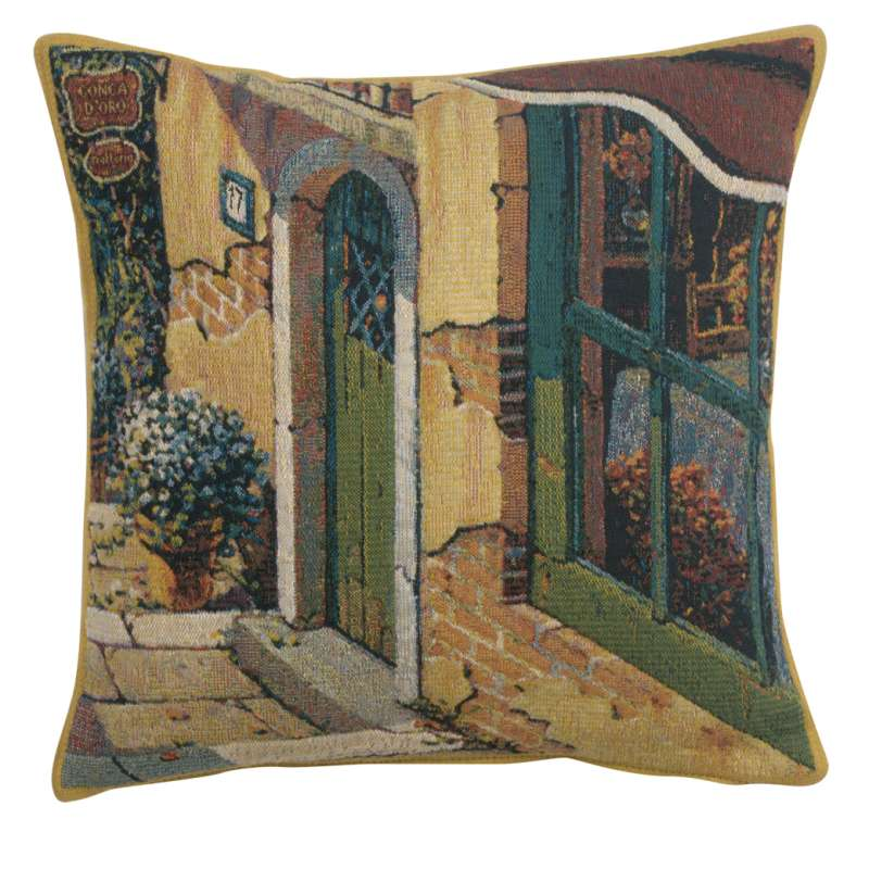 Bellagio Village Door Belgian Tapestry Cushion